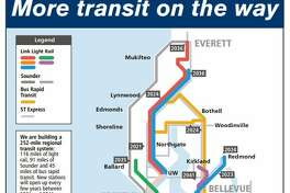 """A map found inside Sound Transit's """"Ride the Wave"""" guide for Sept. 2019-March 2020 shows the dates new light rail stations are expected to open."""