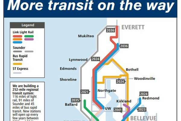 "A map found inside Sound Transit's ""Ride the Wave"" guide for Sept. 2019-March 2020 shows the dates new light rail stations are expected to open."