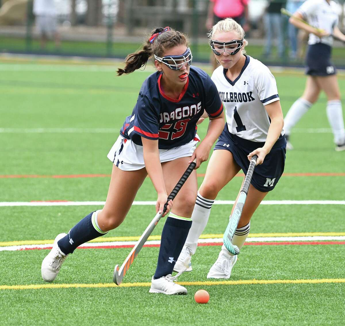 Junior Zoe Koskinas (Fairfield) scored five goals to lead Greens Farms Academy to an 11-0 win over Millbrook Saturday.