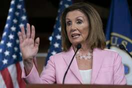 On this Sept. 12, 2019, photo, House Speaker Nancy Pelosi, D-Calif., speaks at the Capitol in Washington. The good news is that it doesn't look like a bitterly polarized Washington will stumble into another government shutdown. But as Democrats controlling the House unveil a stopgap, government-wide spending bill to keep the lights on and pay the troops, there's scant evidence that power sharing in the U.S. Capitol will produce further legislative accomplishments anytime soon. (AP Photo/J. Scott Applewhite)