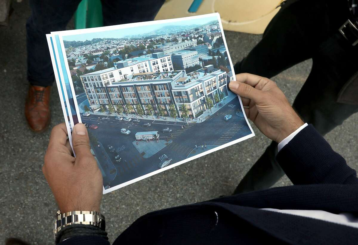 Developer Cyrus Sanandaji from Presidio Bay Ventures shows artist rendition of plans for housing at 65 Ocean Ave. on Tuesday, Sept. 17, 2019 in San Francisco, Calif.