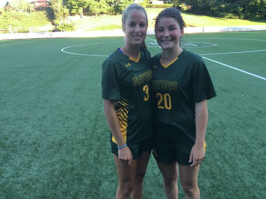 Katie Goldsmith, left and Taylor Lane scored one goal apiece in Greenwich Academy's 2-2 draw against Choate Rosemary Hall on September 18, 2019, in Greenwich. Photo: David Fierro /Hearst Connecticut Media