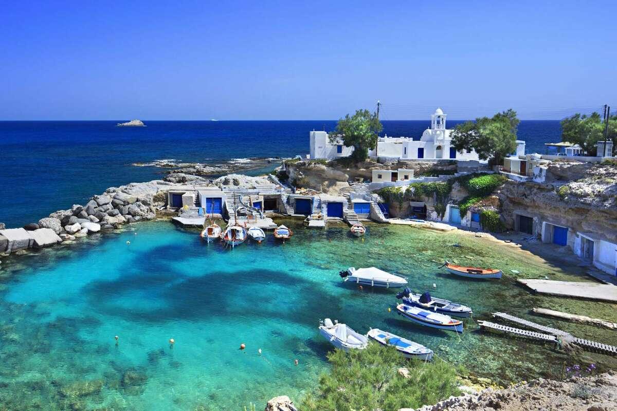 The small Mandrakia village on the Greek island of Milos.