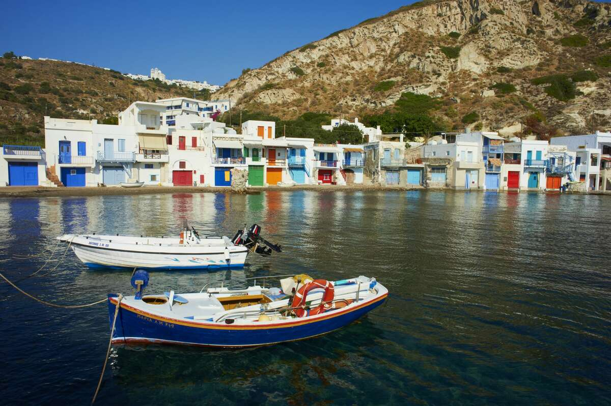 A view of Klima, a fishing village on Milos, from the water. Milos was by far my favorite of Greek Cycladic islands. Click through the gallery to see more pictures from around the island.