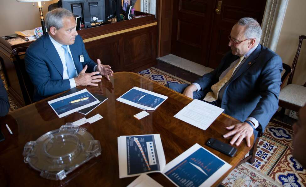 U.S. Sen. Charles Schumer met Tuesday, Sept. 17, 2019, with GlobalFoundries CEO Tom Caulfield. Schumer said he was told that the computer chip maker is