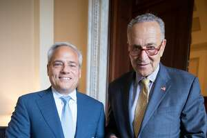 """U.S. Sen. Charles Schumer met Tuesday, Sept. 17, 2019, with GlobalFoundries CEO Tom Caulfield. Schumer said he was told that the computer chip maker is """"optimistic"""" about job growth at the company's Fab 8 factory in Malta, N.Y."""