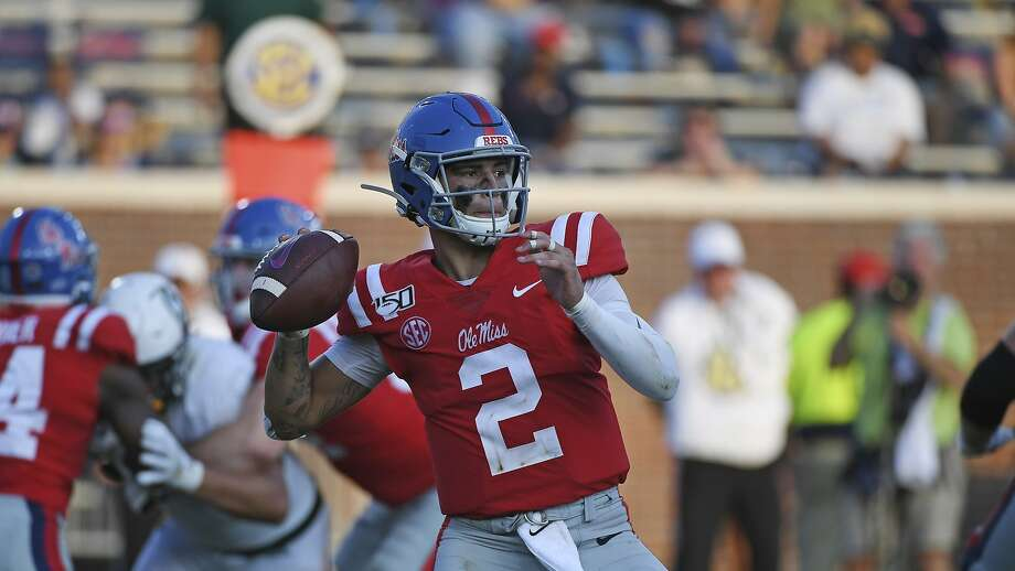 Mississippi quarterback Matt Corral (2) looks to pass during the second half of an NCAA college football game against Southeastern Louisiana in Oxford, Miss., Saturday, Sept. 14, 2019. Mississippi won 40-29. (AP Photo/Thomas Graning) Photo: Thomas Graning / Associated Press