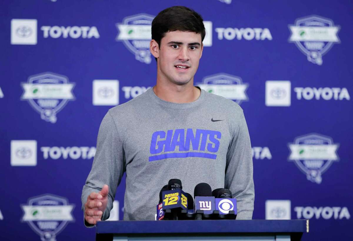 FILE - In this July 25, 2019, file photo, New York Giants' Daniel Jones responds to questions during a news conference at the NFL football team's training camp in East Rutherford, N.J. Coach Pat Shurmur announced Tuesday, Sept. 17 that Daniel Jones, the No. 6 overall pick in the NFL draft, is replacing the two-time Super Bowl MVP as the Giants' quarterback, beginning Sunday at Tampa Bay. (AP Photo/Frank Franklin II, File)