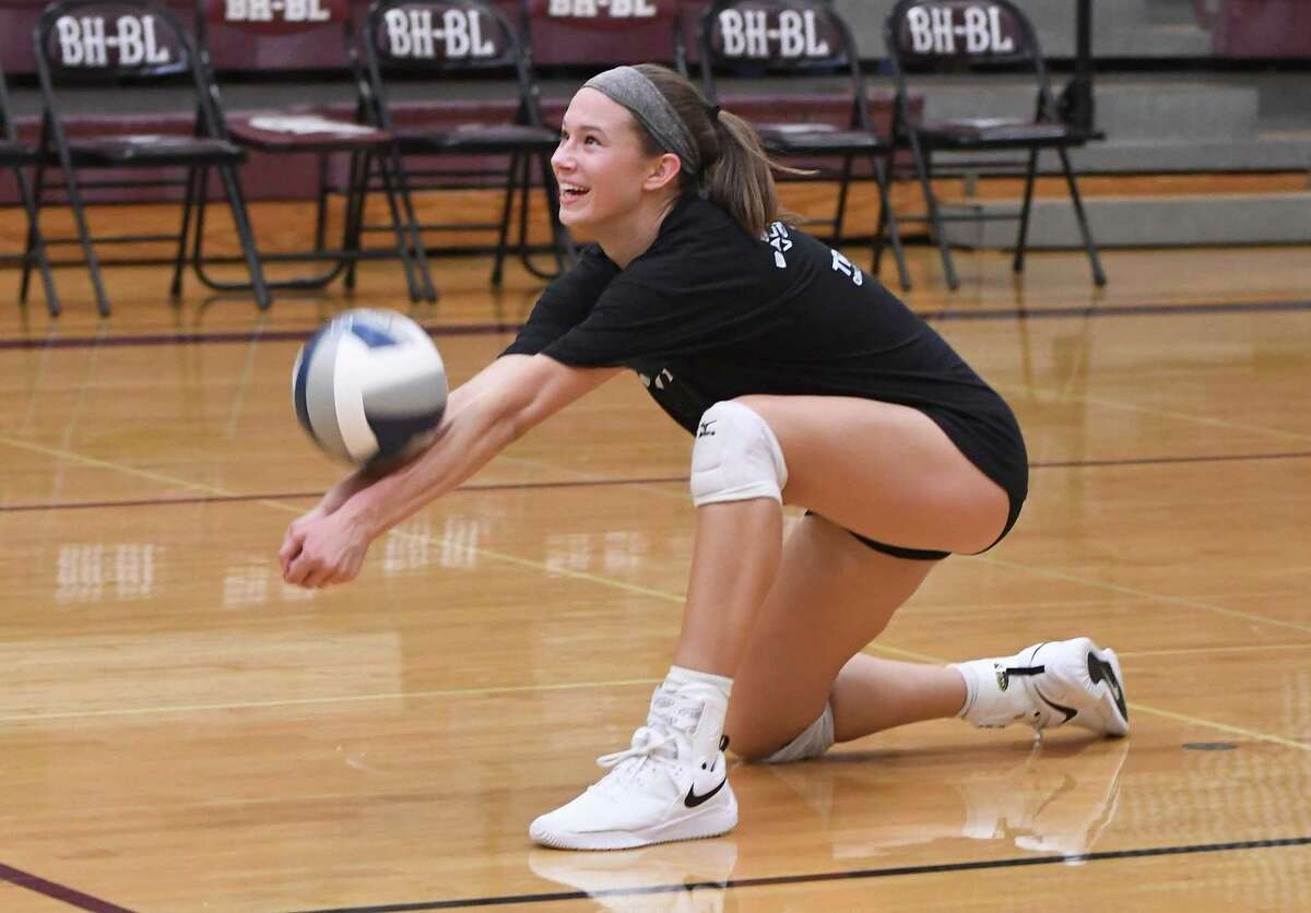 Burnt Hills-Ballston Lake outside hitter Carlie Rzsezortarski bumps the ball during a drill at practice on Wednesday, Sept. 18, 2019, in Burnt Hills, N.Y. (Jenn March, Special to the Times Union)