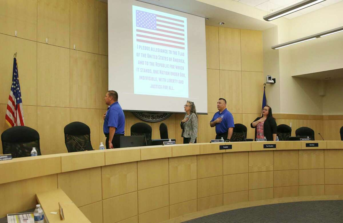 The South San trustees recite the Pledge of Allegiance before the start of the board meeting on Wednesday, Sept. 18, 2019. The board was expected to interview candidates to replace three trustees who abruptly resigned recently.