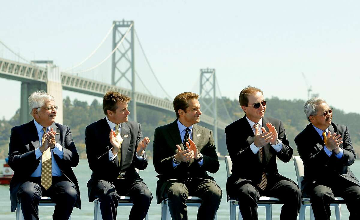 (l to r) NBA commissioner, David Stern, (left) and Golden State Warriors basketball team executives, Rick Welts, Peter Guber, Joe Lacob, along with San Francisco Mayor Ed Lee, as they officially announced their plans, on Tuesday May 22, 2012, in San Francisco,Ca., to build a new arena on piers 30 and 32 in time for the start of the 2017-2018 NBA season.