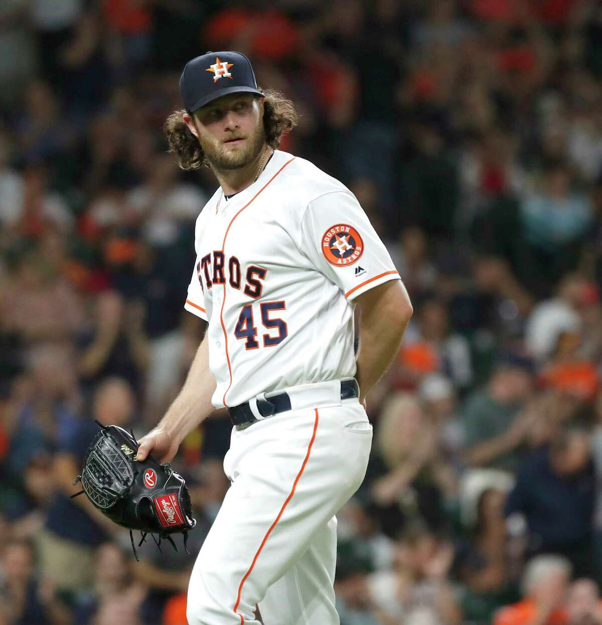 Houston Astros starting pitcher Gerrit Cole (45) as he walks back to the dugout in the eighth inning of an MLB baseball game at Minute Maid Park, Wednesday, Sept. 18, 2019, in Houston.
