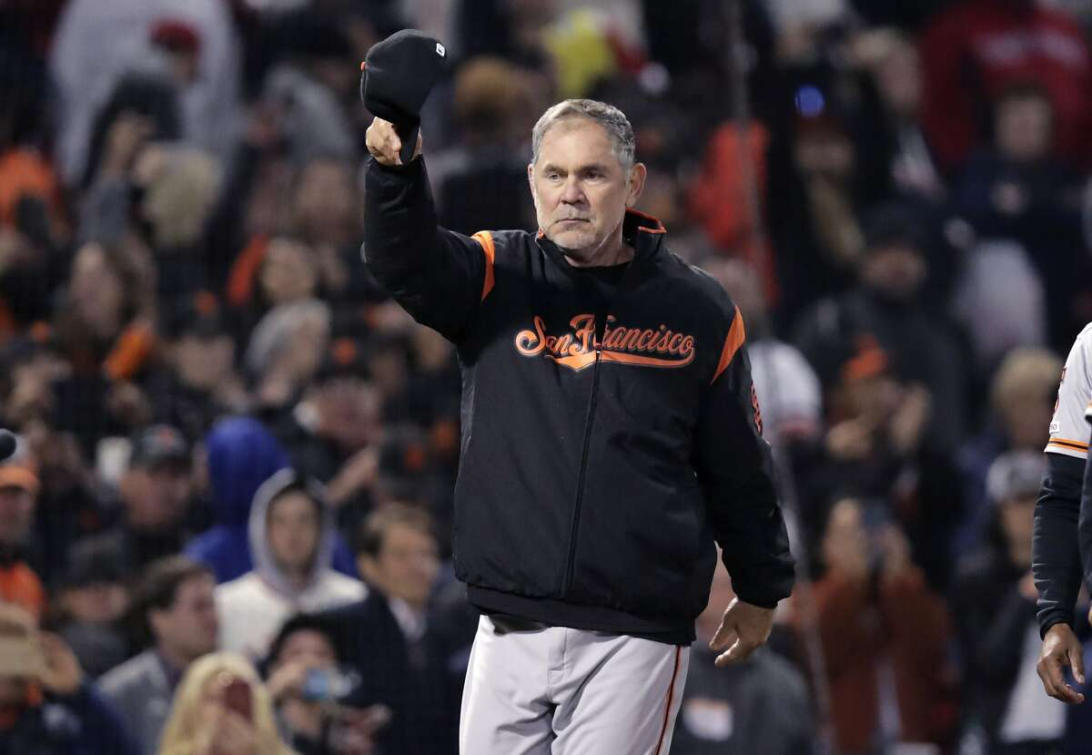 San Francisco Giants manager Bruce Bochy tips his cap after the Giants defeated the Boston Red Sox 11-3 in a baseball game for his 2,000th career win, at Fenway Park in Boston, Wednesday, Sept. 18, 2019. (AP Photo/Charles Krupa)