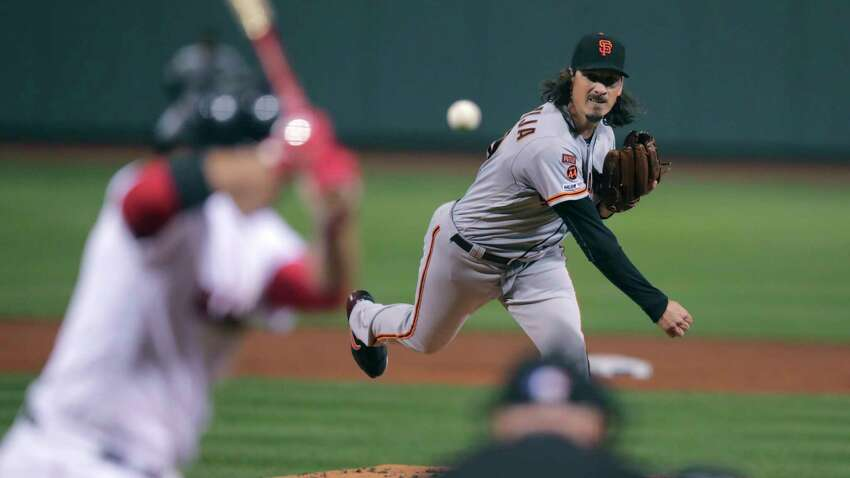 San Francisco Giants starting pitcher Jeff Samardzija delivers during the first inning of the team's baseball game against the Boston Red Sox at Fenway Park in Boston, Wednesday, Sept. 18, 2019. (AP Photo/Charles Krupa)