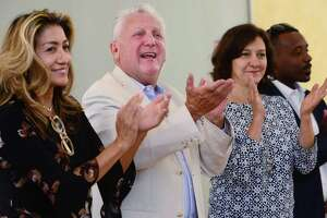 Norwalk Mayor Harry Rilling celebrates the kickoff of his campaign with his wife Lucia and Common Council candidates Saturday, September 7, 2019, at the Norwalk DTC campaign headquarters on North Main Street in Norwalk, Conn. He was joined by local, state and federal officials, including Congressman Jim Himes.