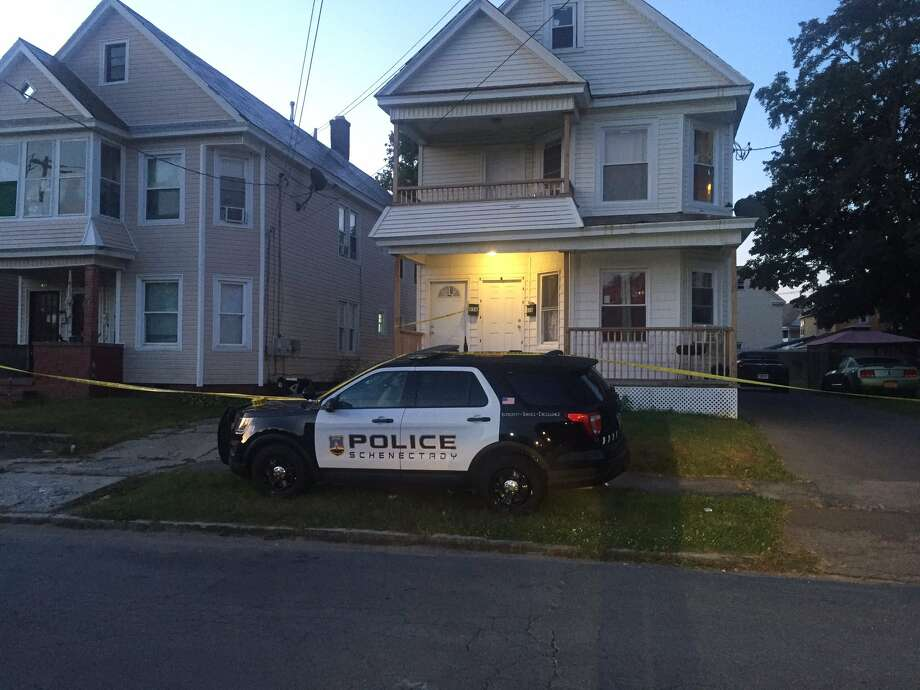 Schenectady police are investigating a death that occurred late Wednesday at a home on Maplewood Avenue. Police have not yet called the death a homicide but officers remained at the scene into Thursday morning. Photo: Steve Hughes / Times Union