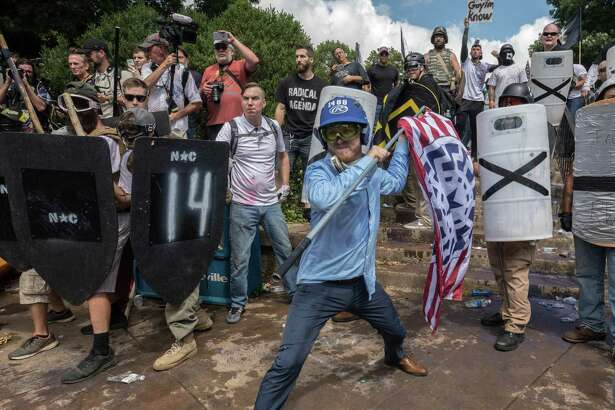 Clashes at the Unite the Right rally in Charlottesville, Virginia, on Aug. 12, 2017.