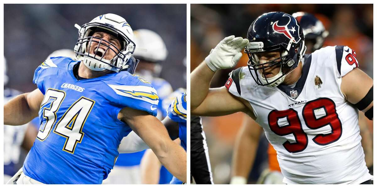 Chargers fullback Derek Watt, left, plays against his brother J.J. Watt for the first time Sunday.
