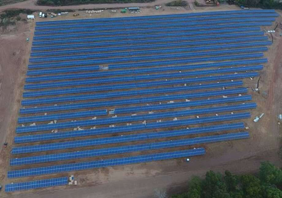 This solar project called NorCap South in East Windsor, supplies South Windsor with 28 percent of its municipal power through the concept of virtual net metering. Photo: Town Of South Windsor / Contributed Photo