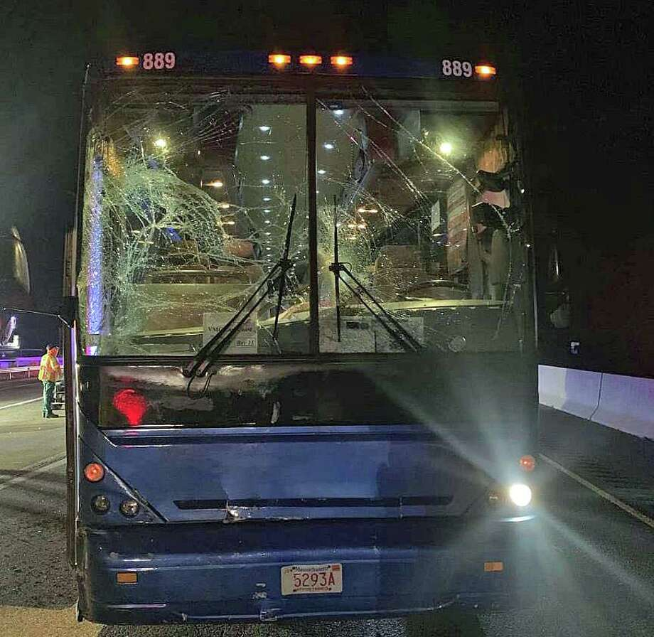On Wednesday, Sept. 18, 2019, Troop F responded to an accident involving a coach bus and a DOT truck on I-95 north in Old Saybrook. DOT was in the closed right lane for tree removal. Nine bus passengers were transported for minor injuries Photo: Connecticut State Police Photo