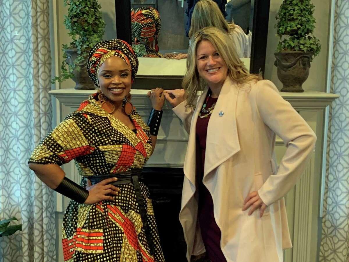 GACCF Ambassador Zoleka Mandela and Tonya Steiner, Executive Director of GACCF, host a fundraiser at Pearl Longshore in Westport on Sept. 18, 2019.