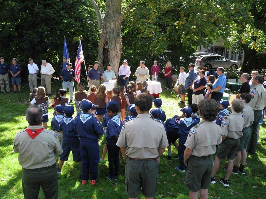 Veterans, scouts and community members attended the American Legion Flag Retirement Ceremony on Sept. 5, 2019. Photo: Jeannette Ross / Hearst Connecticut Media / Wilton Bulletin