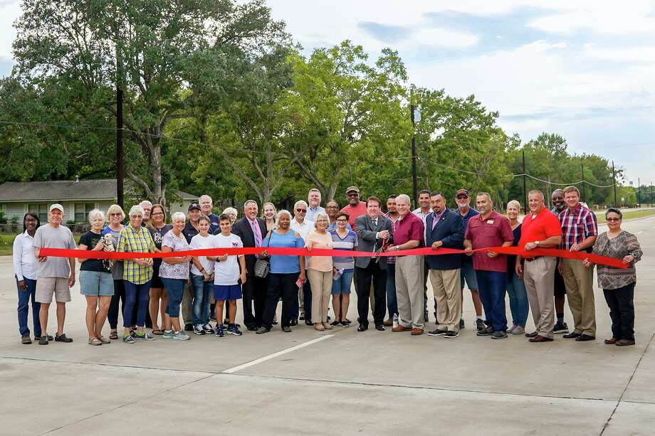 Officials and residents turned out to officially cut the ribbon on the Bryan Road reconstruction recently. Photo: Courtesy Of City Of Rosenberg