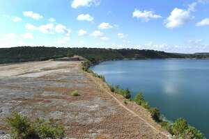 This spillway at Canyon Lake was overtopped in the flood of 2002. Canyon Lake is located about 16 miles upstream from New Braunfels on the Guadalupe River. It is managed by the U.S. Army Corps of Engineers, and its related hydroelectric facilities and water rights are managed by the Guadalupe-Blanco River Authority.