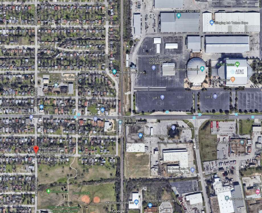 Residents were evacuated from their homes after a gas leak near the AT&T Center Thursday morning. Photo: Google Earth