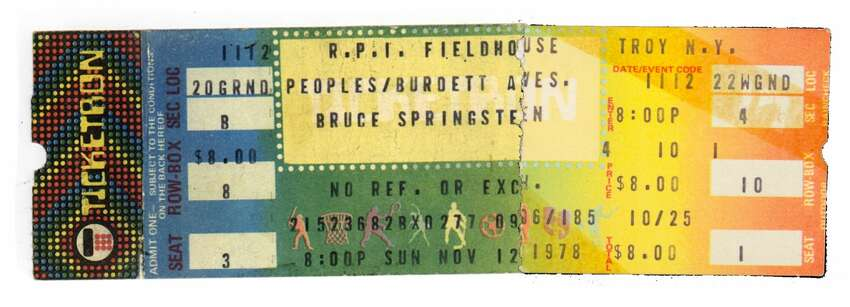 Ticket to Bruce Springsteen and the E Street Band at RPI Field House, Nov. 12, 1978. $8 (Joyce Bassett / Times Union)