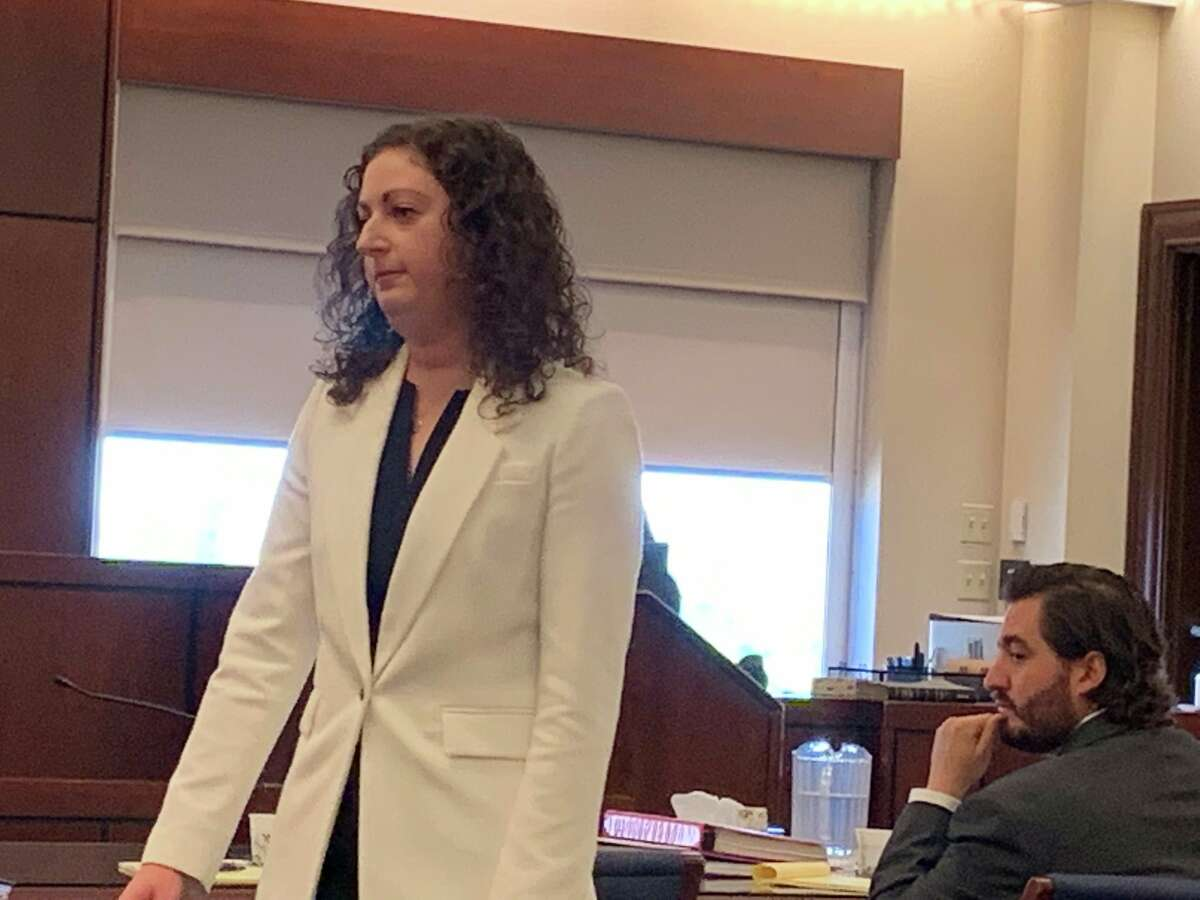 Assistant Albany County Public Defender Rebekah Sokol speaks to reporters during opening arguments at her client, Thomas Slivienski, murder trial in state Supreme Court in Albany. Slivienski is accused of killing 17-year-old Johni Dunia last year in Cohoes.