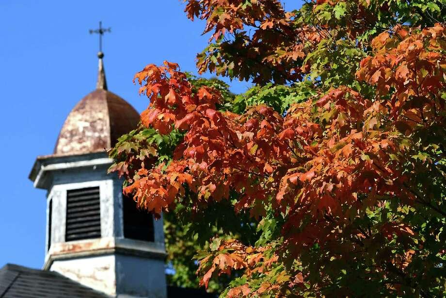 Leaves are starting to turn color on a tree on Rosendale Rd. on Thursday, Sept. 19, 2019 in Niskayuna, N.Y. (Lori Van Buren/Times Union) Photo: Lori Van Buren, Albany Times Union