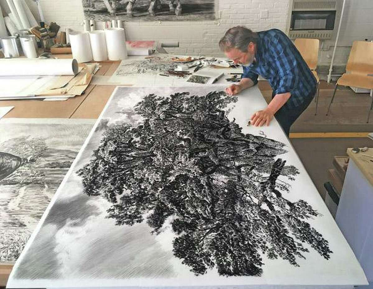 """Rick Shaefer's solo exhibition, """"Three Trees: Life-Size Drawings,"""" opened previously at Silvermine in New Canaan."""