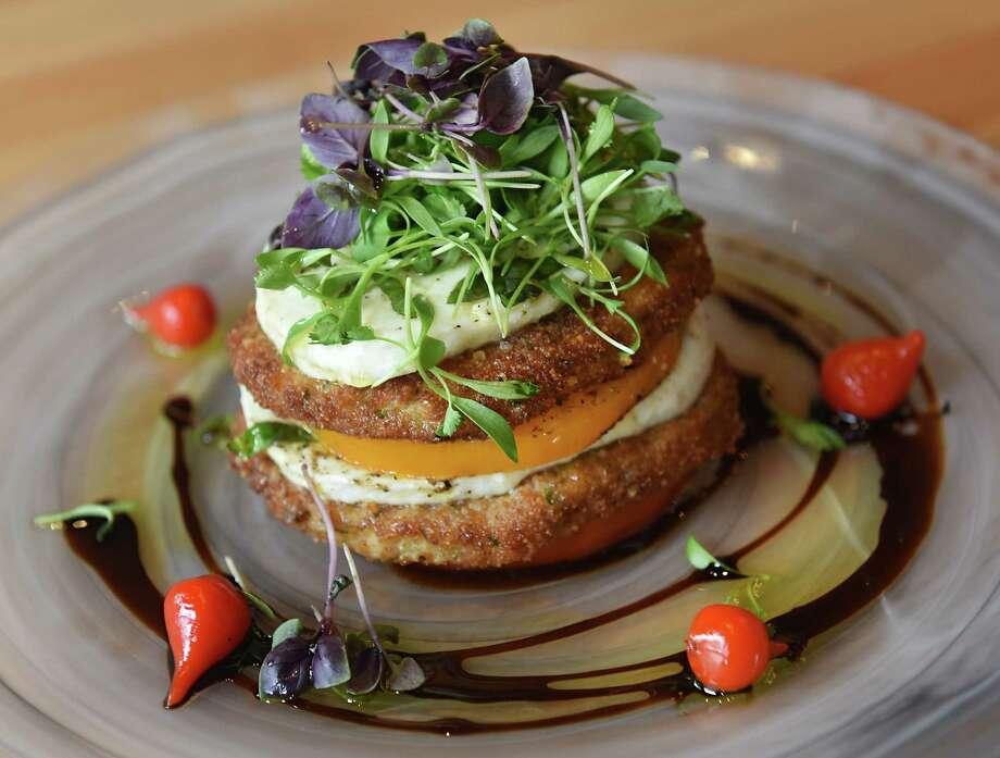 The stack - fresh mozzarella, beefsteak tomatoes, fried eggplant, lorenzo #5 olive oil, vincotto at Grano restaurant on Thursday, Sept. 12, 2019 in Schenectady, N.Y. (Lori Van Buren/Times Union) Photo: Lori Van Buren / 20047809A