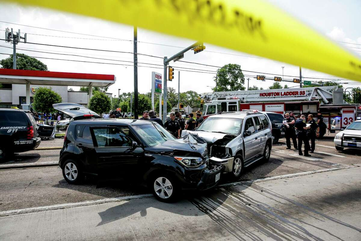 In Houston, home to some of the nation's deadliest roads, there's a high chance you or someone you know will get into a crash. Police investigate after a car chase ended with the suspect crashing the silver SUV into two cars at the intersection of Scott Street and Yellowstone Boulevard Thursday, May 12, 2016 in Houston.