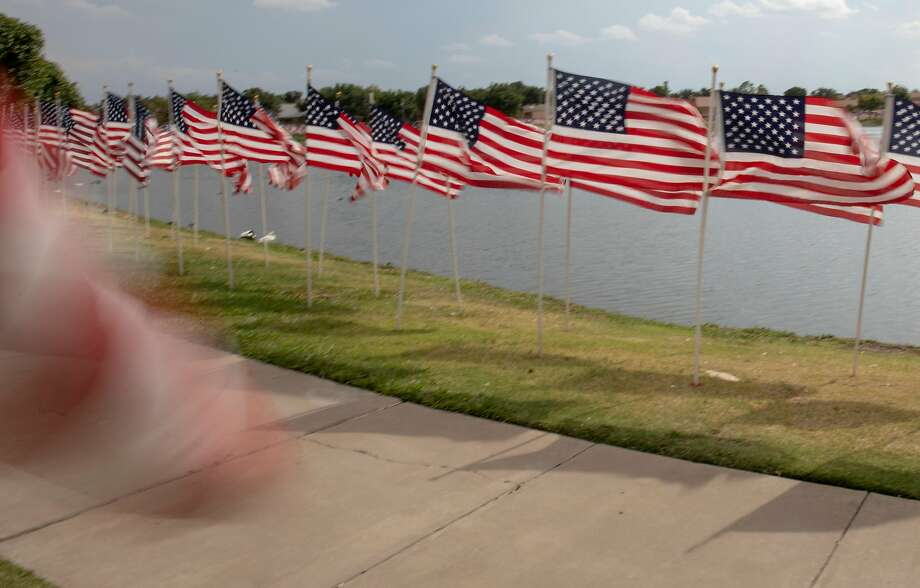 American flags on display for Sept. 11 in Odessa, Texas. Photo: Jacy Lewis/Reporter-Telegram /