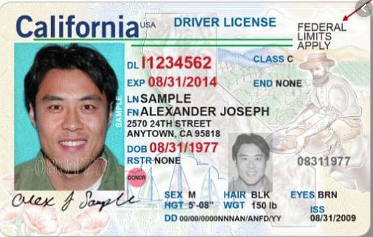 """A non-compliant California license has the words """"Federal limits apply"""" in the upper right-hand corner instead of a Golden Bear."""