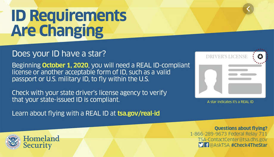 TSA is warning travelers with airport posters and other media to update their IDs by next fall. Photo: TSA