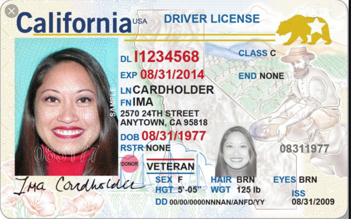 A REAL ID-compliant California license has a Golden Bear with a star in the upper right corner.