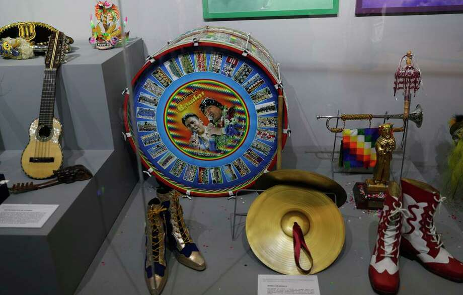 Musical instruments given to Bolivian President Evo Morales are on display at a new museum in his hometown of Orinoca. Photo: Juan Karita / Associated Press / Copyright 2019 The Associated Press. All rights reserved