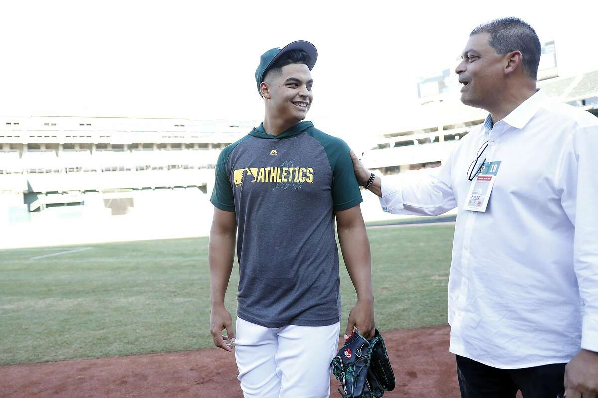 Oakland Athletics' Jesus Luzardo and his father, Jesus in Oakland, Calif., on Tuesday, September 17, 2019.
