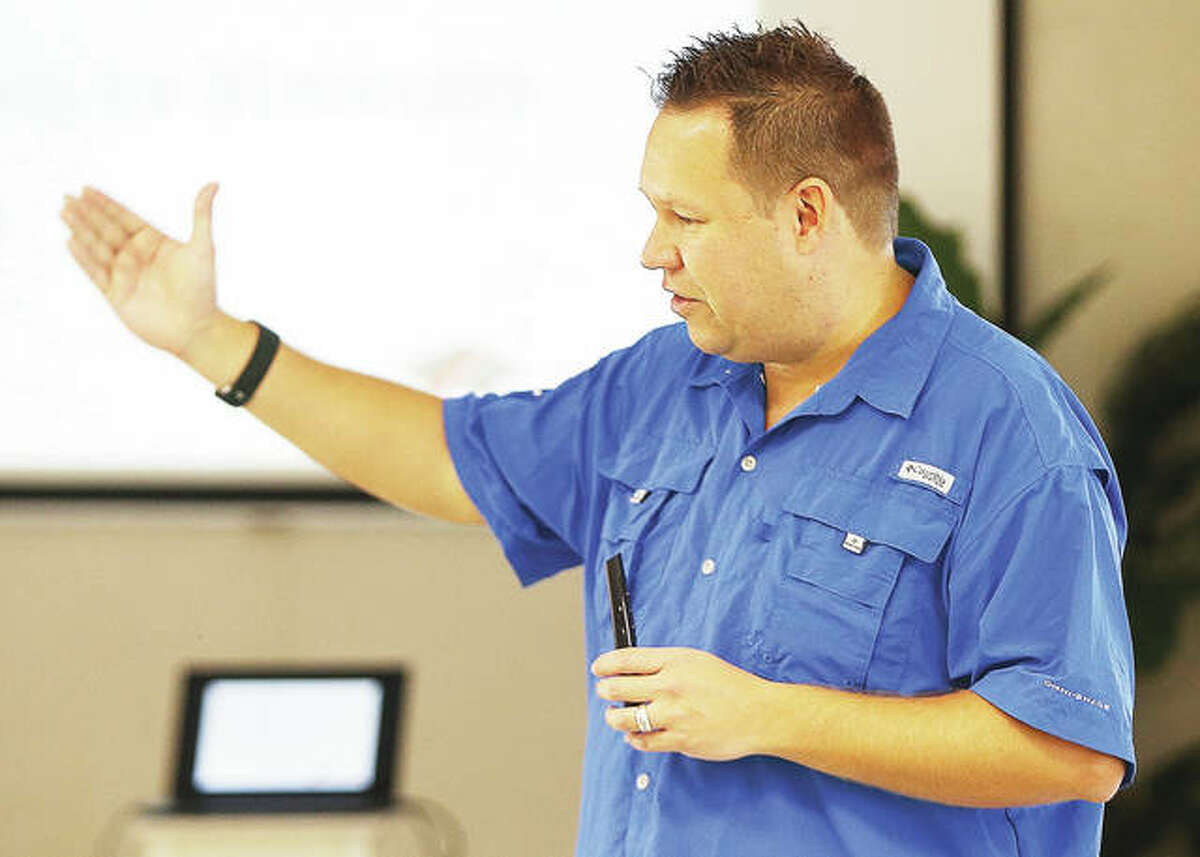 Andrew Roszak, executive director of the Institute for Childhood Prepardness, talked to teachers about how they can practice ways to prepare for the unlikely event of an active shooter in ways that will not alarm or traumitize students.