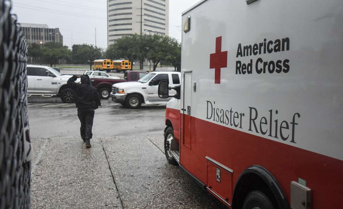 An American Red Cross Disaster Relief van sits parked outside the Beaumont Civic Center after the Center was opened up as an emergency shelter in downtown Beaumont, Texas. Photo taken on Thursday, 09/19/19. Ryan Welch/The Enterprise
