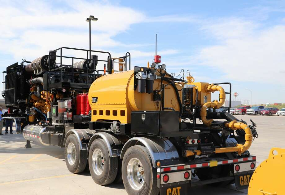 """Warren CAT and Caterpillar recently displayed its new """"all-Cat"""" frac trailer equipped with all-Caterpillar components. The trailer can run on diesel or a blend of diesel and natural gas. Photo: Courtesy Warren CAT"""