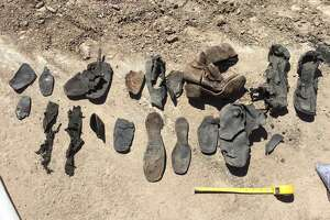 Remnants of shoes from the 1860s and 70s.