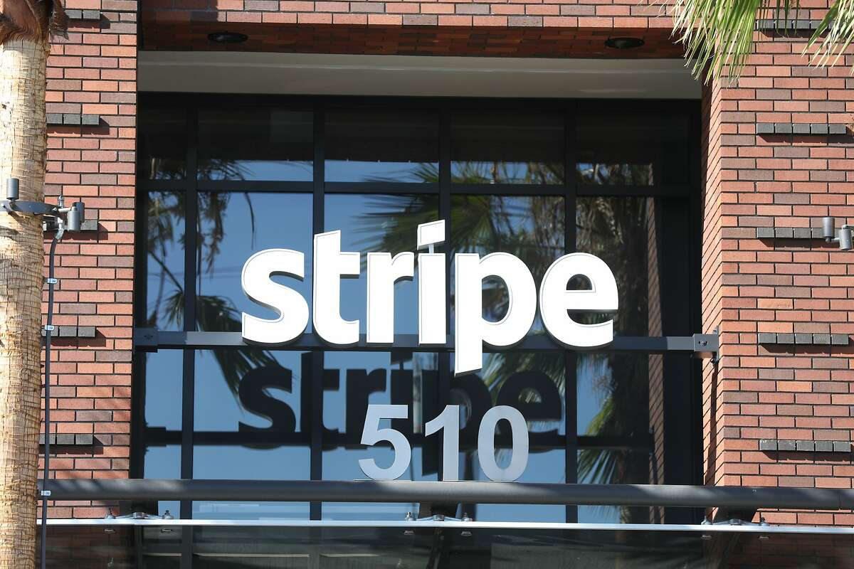 A Stripe logo is seen on its headquarters on Thursday, October 25, 2018 in San Francisco, Calif.