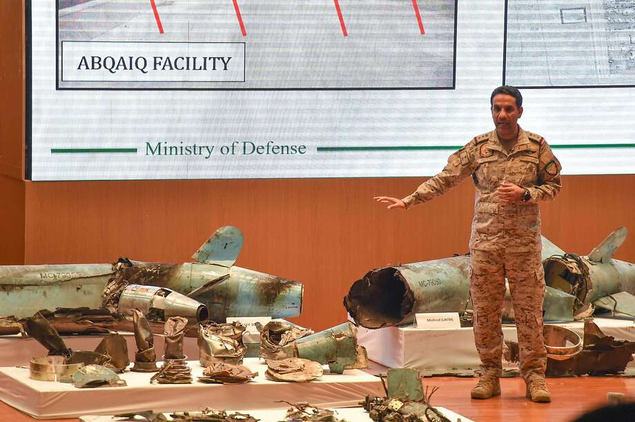 Saudi Defense Ministry spokesman Turki bin Saleh al-Malki displays pieces of what he said were Iranian cruise missiles and drones recovered from the attack on Aramco facilities. Photo: Fayez Nureldine / AFP / Getty Images