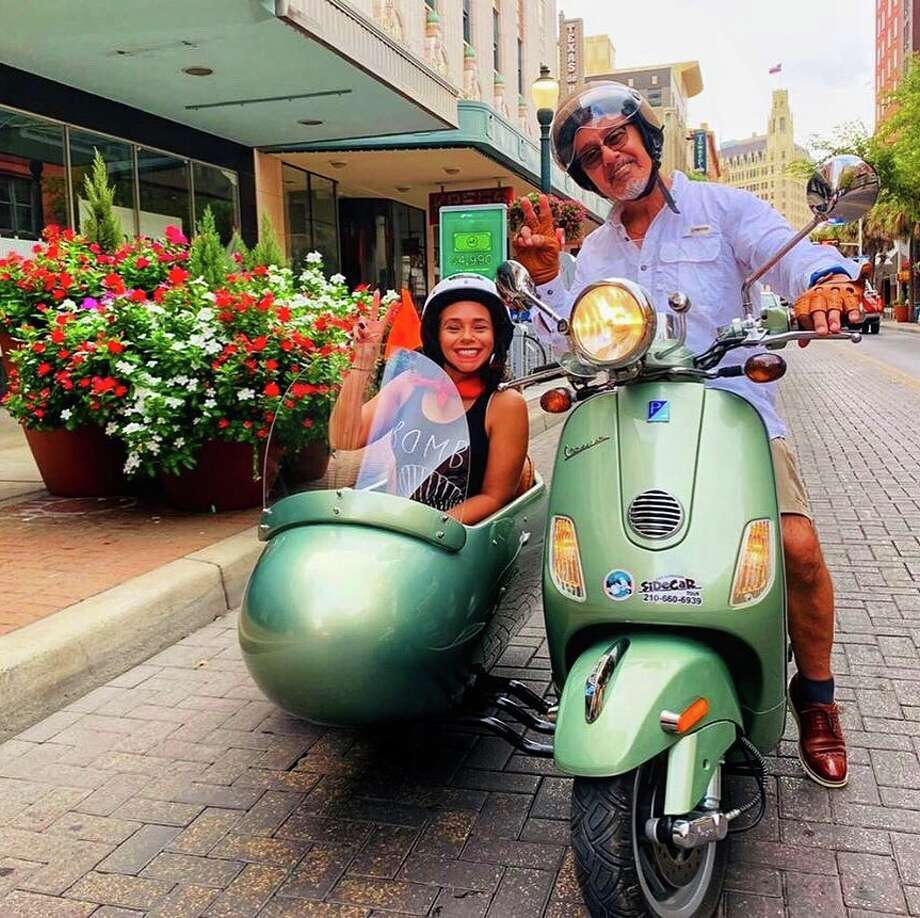 San Antonio Sidecar Tours hit the streets in July, taking residents and visitors coming in from as far as Kuwait around some of the city's must-sees via a seat in a sidecar attached to a Vespa. Photo: Courtesy, San Antonio Sidecars