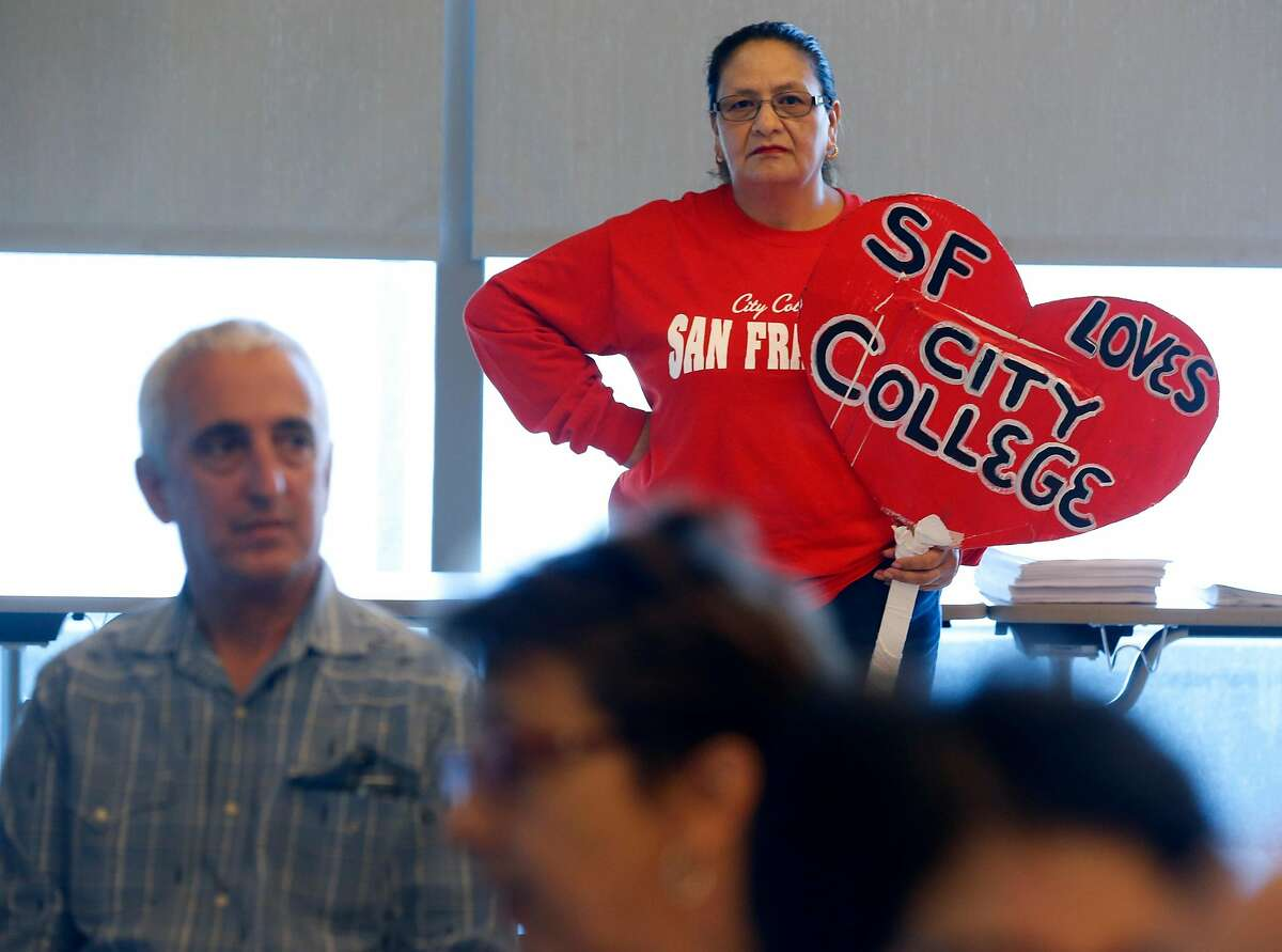 Student Teresa Villicana attends a meeting of the CCSF Board of Trustees Budget and Audit Committee at the Chinatown campus in San Francisco, Calif. on Thursday, Sept. 19, 2019.