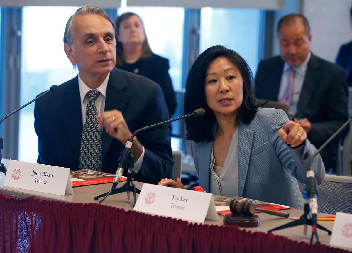 Trustees John Rizzo and Ivy Lee lead a meeting of the CCSF Board of Trustees Budget and Audit Committee at the Chinatown campus in San Francisco, Calif. on Thursday, Sept. 19, 2019.